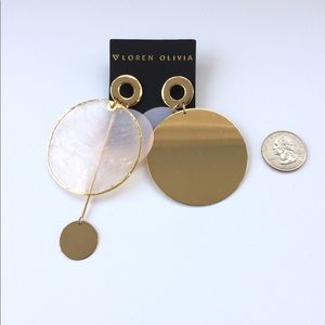 Loren Olivia Gold Pink Metal Disc Earrings